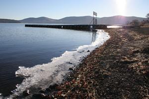 山中湖畔の結氷